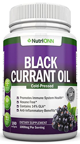 Black Currant Oil - 1000 Mg - 180 Softgels - Cold-Pressed Pure Black Currant Seed Oil - Hexane Free - 140mg GLA Per Serving - Regulates Hormonal Balance - Great For Immune System, Hair, Skin and Heart (Black Seed Extract Capsules compare prices)