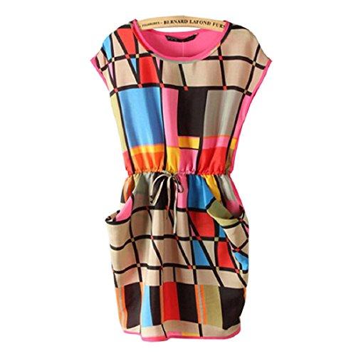 Aokdis Sleeveless Colorful Lattice Chiffon Drawstring Mini Dress (S)