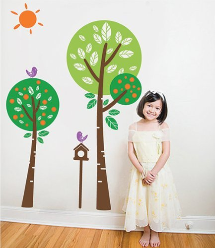 Pop Decors Removable Vinyl Art Wall Decals Mural For Nursery Room, Sunshine In My Garden (Orange)