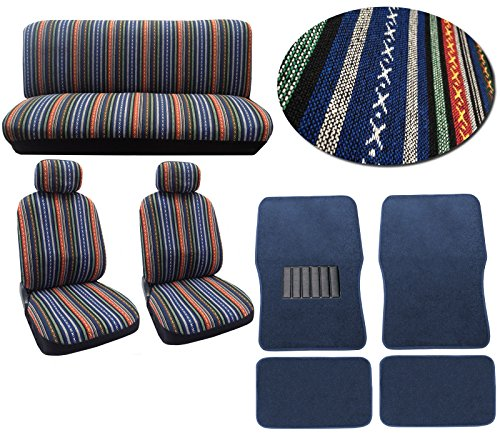Baja Blue 12pc Car Seat Cover Set - Striped Saddle Blanket Front Low Back Bucket Seat Covers Bench - 4pc Blue Carpet Floor Mats (Blue Car Seat Covers For A Sedan compare prices)