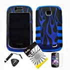 4 items Combo: ITUFFY(TM) LCD Screen Protector Film + Mini Stylus Pen + Case Opener + Black Blue Flame Design Rubberized Hard Plastic + BLUE Soft Rubber TPU Skin Dual Layer Tough Hybrid Case for Straight Talk Samsung Galaxy Proclaim 720C SCH-S720C / Verizon Samsung Illusion i110