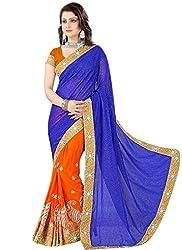 Khushi Trendz Georgette Blue Designer Saree