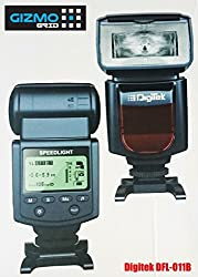 Digitek Electronic Camera Flash Speedlite DFL-011B Manual (2016 Latest Model of DFL-011A) for Canon EOS, Nikon, Fujifilm, Pentax, Samsung, RICOH, Olympus, Panasonic, Sony DSLR's, GN 40, LCD Display (GizmoGrid)