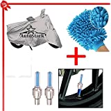 AutoStark Bike Body Cover Silver+Tyre Led Light Blue+Bike Cleaning Gloves For Royal Enfield Classic 500