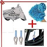 AutoStark Bike Body Cover Silver+Tyre Led Light Blue+Bike Cleaning Gloves For Bajaj Pulsar 150 DTS-I
