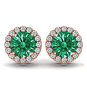 14kt White Gold Emerald and Diamond Halo Earrings 1.25ct TW