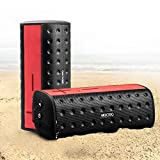 MOCREO Waterproof Portable Wireless Bluetooth Speaker Indoor/Outdoors Ultra mini W/ Dual Speakers / Rechargable Built-in Battery / TF card Supported for iPhone,iPod,Samsung Galaxy S3/S4/S5 and Other Bluetooth Devices,MP3 Players (Red)