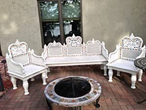 3 Pc Ivory Marble Top Coffee Table , End Table & Sofa Table Set