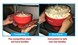 Lifetime Warranty-Popcorn Maker - FDA Approved and BPA Free, Silicone Microwave Popcorn Popper Machine by Salbree, Red Collaspible Bowl