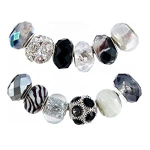 Pandora Style Twelve (12) Piece Charm Bead Set with Murano Style, Faceted Glass Style and Crystal Beads - Fits Pandora, Troll, Biagi and Charmilia - Exact Assortment as Shown (FB146)