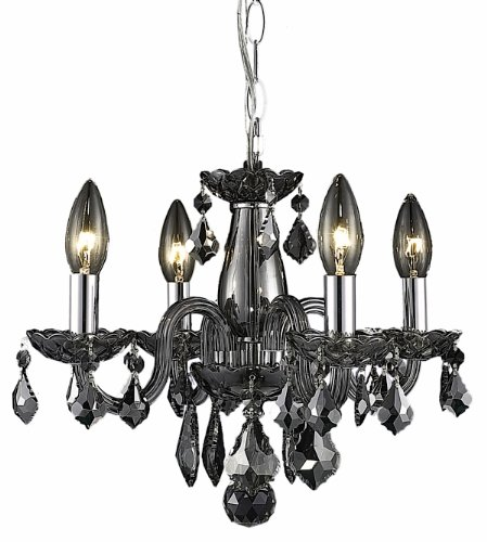 Elegant Lighting 7804D15Ss-Ss/Rc 12-Inch Height 4 Lights Rococo Chandelier, Silver front-685816