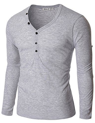 Doublju Men Day-to-Night Button Placket Long Sleeve Henleys Gray X-Large (Wagner Jersey compare prices)
