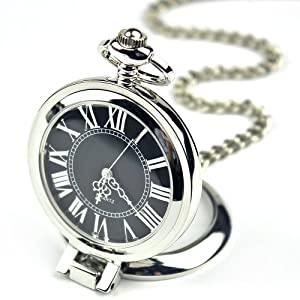 Creddeal Fashion Stainless Steel Case Roman Numbers Modern Pocket Watch Black PW052