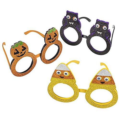 Kids-Halloween-Glitter-Glasses-Party-Supplies-Party-Favors-Pumpkin-Bat-Candy-Corn-3-Pack