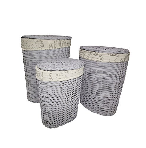 Set 3 cesti ovali in vimini cestini grigio foderati in tessuto beige bagno camera cucina (Cod. 0-1612)