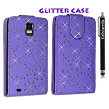 Cellularvilla (Trademark) Case for Samsung Infuse 4g I997 Purple Glitter Diamond Leather Flip Open Case Cover Pouch + Stylus Touch Pen