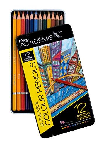 Mead Academie Blendable Colored Pencils, 12 Pencils Per Tin, Assorted (98006)