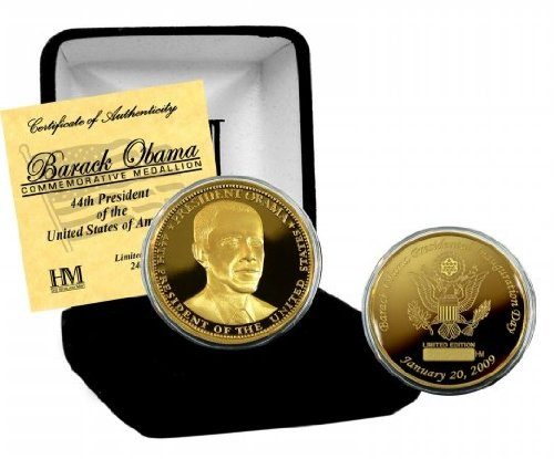 Barack Obama Presidential Inauguration 24KT Gold Coin