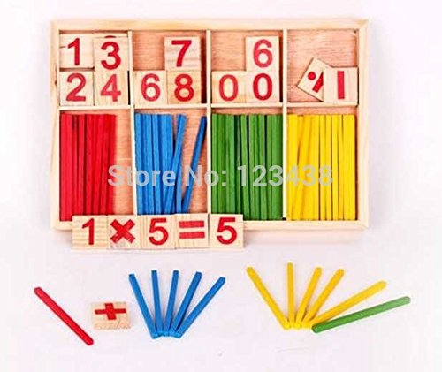 Counting Sticks Box Set Montessori Wooden Number Math Teaching Aids Game Materials Educational Toy - 1