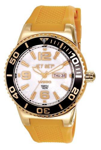 Jet Set J55454-08 - Reloj analógico unisex de caucho Resistente al agua nácar