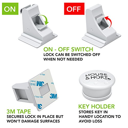 Magnetic Baby Safety Locks for Cabinets, Drawers - Keep Your Child Safe - Bonus Key and Ebook - Hidden Child Proof Cabinet Locks - No Drilling for Easy Installation and Childproofing - 3 Key + 8 Lock