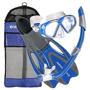 U.S. Divers Adult Cozumel Mask/Seabreeze II Snorkel/Proflex Fins/Gearbag (Elect. Blue, Large )