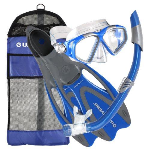 U.S. Divers Adult Cozumel Mask/Seabreeze II Snorkel/Proflex Fins/Gearbag (Elect. Blue,