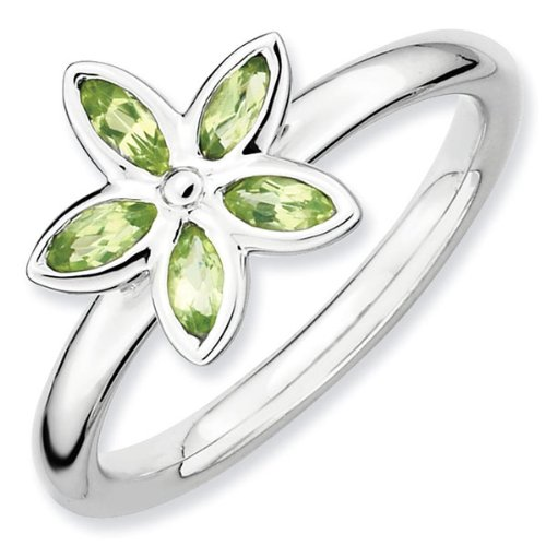 Peridot Romantic Flower Stackable Ring - Size 8