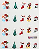 Deco Nail art water transfer hydroplaning nail stickers decals Snowman Christmas Gift Socks Penguin