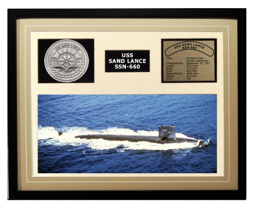 Navy Emporium USS Sand Lance SSN 660 Framed Navy Ship Display us navy uss carl vinson cvn 70 supercarrier 5 inch patch d19