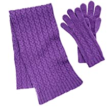 Pure Cashmere Cable Knit Scarf and Glove Set made in Scotland (Tyre (Purple))