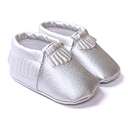 LIVEBOX Infant Baby Moccasins Soft Sole Anti-Slip Tassels Prewalker Toddler Shoes (1: 0~6 months, Silver)