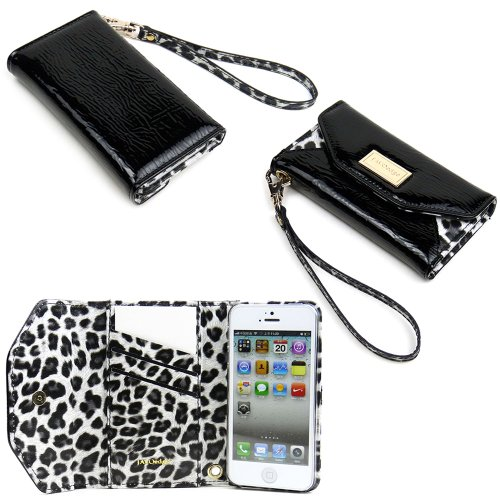 Best Price JAVOedge Leopard Clutch Wallet Case with Wristlet for the Apple iPhone 5s, iPhone 5 (Black)