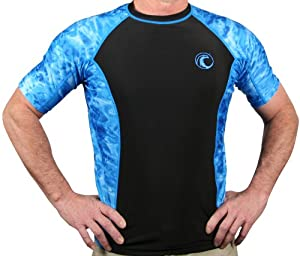 Aqua Design Mens Short Sleeve Big Wave UPF 50+ Sun Protection Rash Guard Shirt by Aqua Design