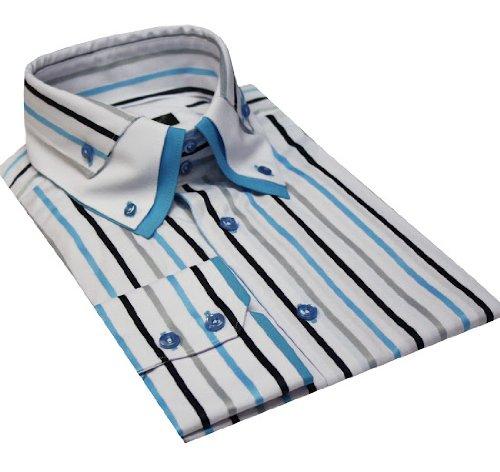 Italian Design Triple Collar Button Down Men Formal Casual Shirts Turquise Stripe