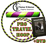 Adult Weighted Hula Hoop (Purple/UV Yellow) Large Travel Hula Hoops For Dance, Fitness & Exercise + Hooping DVD!