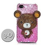 iPhone4/iPhone4S スワロフスキー(Swarovski)/3D ベアーケース/カバー 茶/ピンク(Bear Brown/Pink)ハイクオリティー