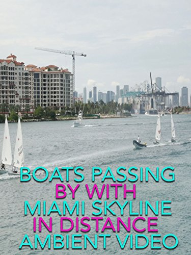 Boats passing by with Miami skyline in distance ambient video