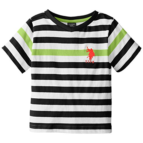 U.S. Polo Assn. Little Boys' Engineered Stripe V-Neck T-Shirt, Classic Navy, 3T