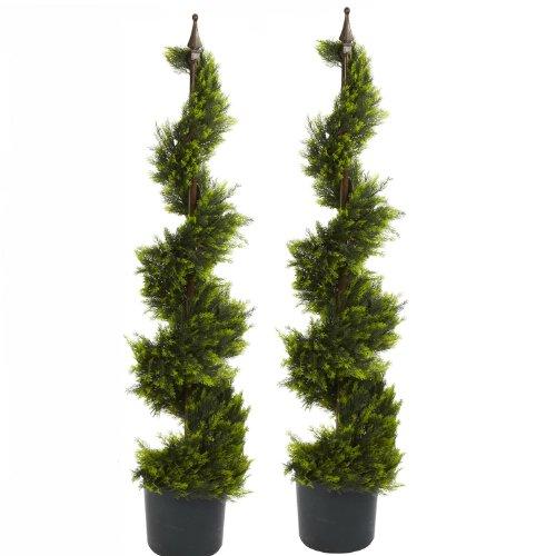 Four 40 Spread Artificial Boston Fern 32 Leaves Silk Hanging Bush Tree Plant