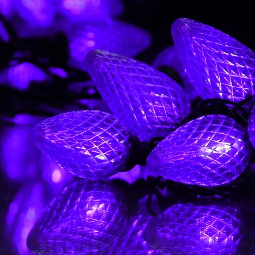 100 Purple Led C9 String Light Set With Black Wire, Indoor/ Outdoor Ul Adapter, On Reel, 5' Lead Wire, Total Length 38Ft./ Linkable