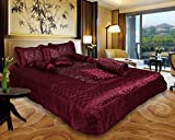 El Sandlo Ethnic traditional indian satin wedding bedding set of 8 pcs.