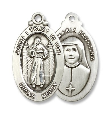 Sterling Silver Divine Mercy Medal Pendant with 24
