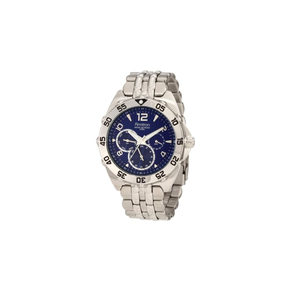 Armitron Mens 204664BLSV Silver Tone Stainless Steel Multi Function Blue Dial Sport Watch