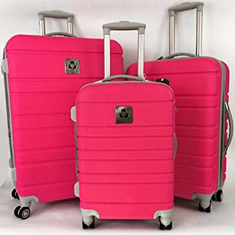 3pc Luggage Set Hardside Rolling 4 Wheel Spinner Upright Carryon Travel Hot Pink