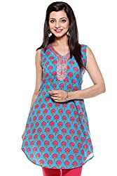 Lyla Cotton Pink & Blue Kurti for Women(Size-Large)