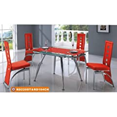 American Eagle Furniture 220DT & 104CH Extendable Clear Glass Table With Red Leatherette Chairs Dining Set