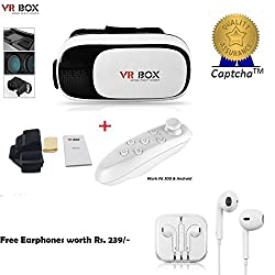 Moto X Play Compatible Ceritfied Set of VR Box and Bluetooth Remote Controller (For Gaming/Video watching) (Assorted Color) with FREE GIFT