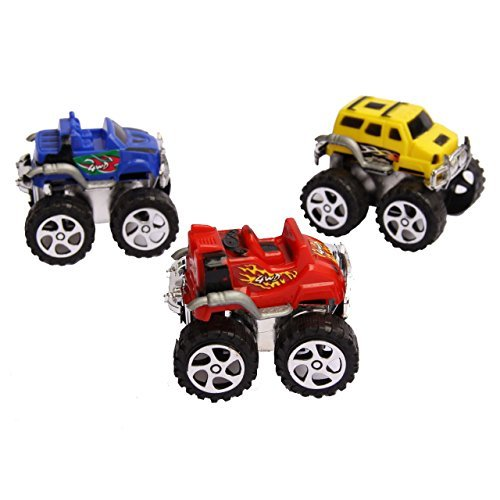 Dazzling Toys Monster Pullback Trucks - Pack of 12 - Friction Trucks Pull Them Back And Let It Go