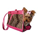 Dog Cat Leopard Print Pet Carrier W/Pink Trim Small